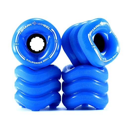 Shark Wheel Cruiser Wheels - 60mm - Blue - California Roll Skateboard Wheels by Shark Wheel