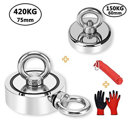 Anksixx  Ösenmagnet ,Doppelseitiger Magnet 420 kg + einseitiger Magnet 150 kg, mit Nylon-Seil 20 m + 1 Paar Handschuhe, für Angeln, Regeneration, Rettung, Industrie im Fluss, 75 mm + 60 mm