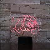 Luz de color atmosférica de Halloween Juguete de perro matón americano Lámpara de mesa 3D noche con control remoto para niños Luz LED decoración del hogar única