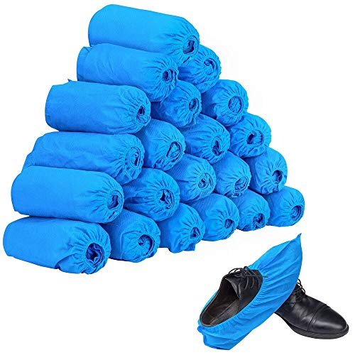 100pcs (50 Pairs) Non-woven Fabric Disposable Shoes Covers Elastic Band Breathable Dustproof Anti-slip Shoe Covers(Blue)