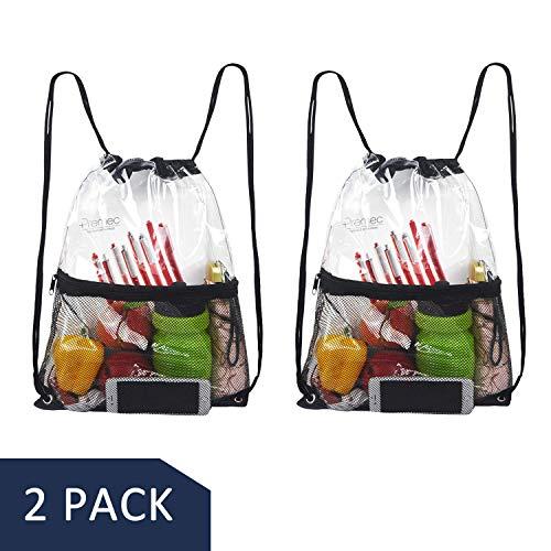 Hugool Klare Kordelzug Tasche, PVC Rucksack mit Reißverschluss Netztasche vorne, durchsichtiger Netzkordelzug Rucksack für den Außenbereich (Schwarz * 2)