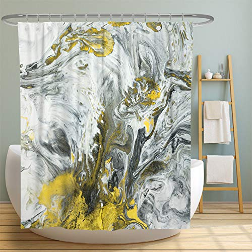 MuaToo Abstract Art Fabric Shower Curtain, Abstract Hand Painted Black and White with Gold Design Decorative Shower Curtains for Bathroom, Waterproof Fabric 72x72 Inch with Hooks