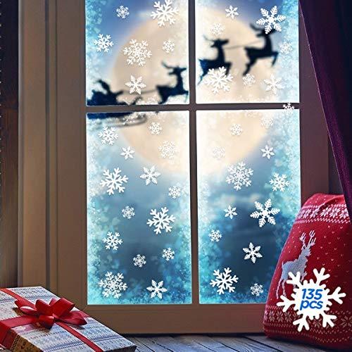 WEARXI Weihnachtsdeko Fenster 135pcs Schneeflocken Sticker Fensterbilder, Wiederverwendbare Weihnachts Fensterbilder Weihnachten Fensterdeko Aussen und Innen