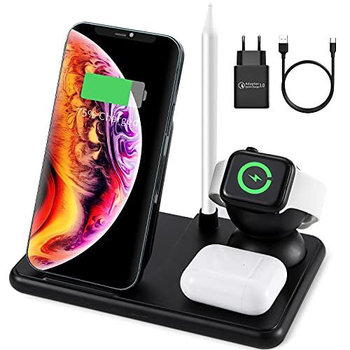 FAHZON 15W Fast Wireless Charger, 4 in 1 Induktive Ladestation für Apple Watch iPhone und Airpods Pro, Kabellose Ladegerät für iPhone 12/SE/11/X/XR/Xs Max/8, Samsung Galaxy S20/S10/S21
