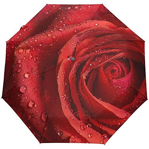 Red Rose Close Up Water Valentine Love Ombrello automatico Antivento, da viaggio Robusto Ombrello con protezione UV Ombrelloni da sole e pioggia per uomo Donna, Apertura e chiusura automatica