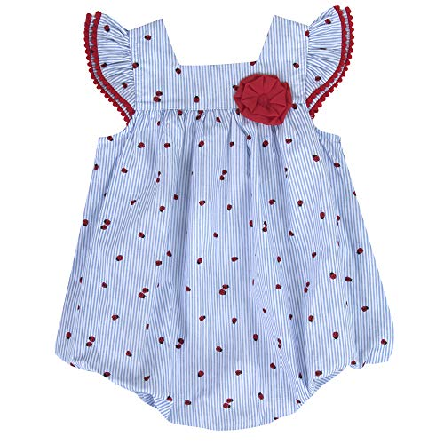 Baby Girl Ruffle Dress, Chiffon Jumpsuit Dresses for Baby Girls 3-9 Months (Ladybugs, 6 Months)