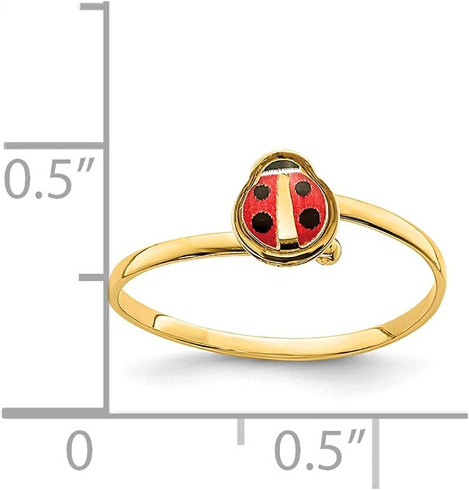 14k Yellow Gold Enamel Ladybug Childrens Band Ring Size 4.00 Baby Flower Gardening Animal Fine Jewelry For Women Gifts For Her