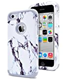 Dailylux Shockproof Case for iPhone 5C, PC + Soft Silicone Three Layers Armor Anti-Slip Protective Defensive Hard Back Cover, Marble Grey