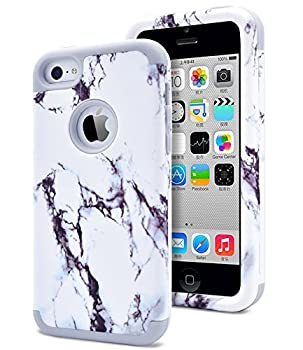 Dailylux Shockproof Case for iPhone 5 / 5C / 5S / SE PC + Soft Silicone Three Layers Armor Anti-Slip Protective Defensive Hard Back Cover Marble Grey