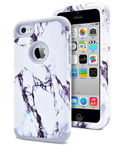 Dailylux iPhone 5C Case,5C Case,PC+Soft Silicone Three Layers shockproof Armor Anti-slip Protective Defensive Hard Back Cover for Apple iPhone 5C-Marble+Grey