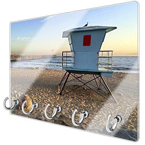 banjado Schlüsselbrett aus Glas   Schlüsselboard 30cm x 20cm   beschreibbar und magnetisch   Schlüsselleiste mit 5 Haken   Motiv Rettungsturm