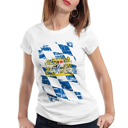 Bayern Vintage Flagge Damen T-Shirt München Oktoberfest Fussball FC, Farbe:Weiß, Größe:M