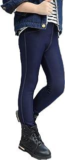 Runyue Kids Girls Leggings Warm Imitation Jeans Thermal Trousers Thicken Pants Winter Elasticity Leggins