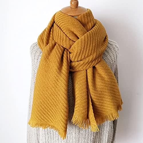 ECSWP KAIDANLE Bufanda de Cachemira Pashmina de Punto Bufanda Larga Color sólido más Grueso cálido Invierno Moda Bufanda Regalo para Mujeres Damas (Color : E)
