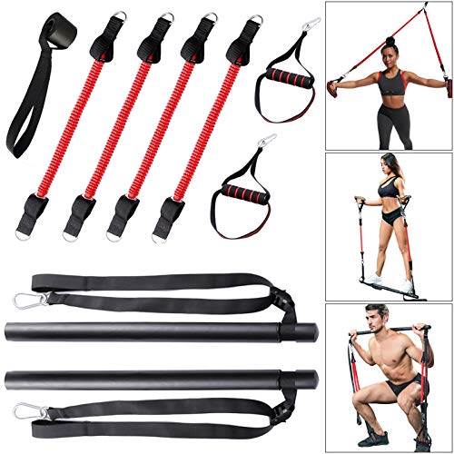 Kit a 3 Usi di Barra per Pilates Staccabile con Fascia Resistenza, 4 Elastici Multifunzionali per Allenamento casa, Attrezzature da Palestra Portatili per Yoga Fitness, Stretching, Torsioni, Sit-ups