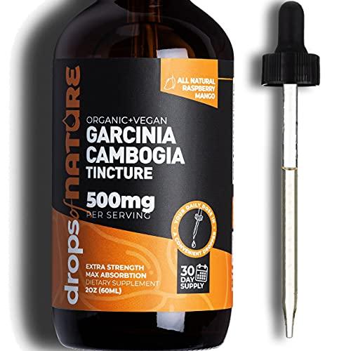 Garcinia Cambogia Extract Liquid Supplement, 2 fl. oz. Natural HCA Carb Blocker, Raspberry Mango