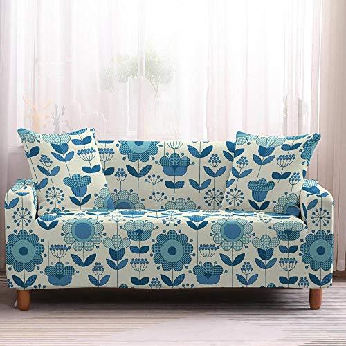 Fundas de Sofá - Funda Cubre Sofá Elasticas de Protector de sofá con Estampado Flor Azul 1 Plazas, Suave Poliéster Universal Funda Cubre Sofas Ajustables