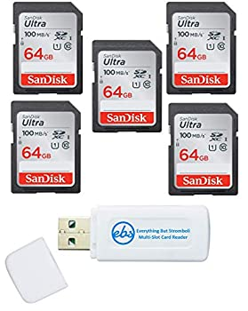 SanDisk 64GB SD Ultra Memory Card  5 Pack  UHS-I Class 10 SD Memory Card  SDSDUNR-064G-GN6IN  Bundle with  1  Everything But Stromboli Combo Card Reader
