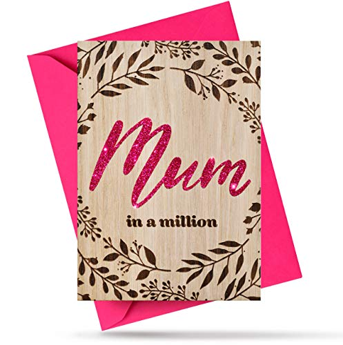 Panqarte Handmade Wooden Mum Birthday Cards - Mom in A Million Birthday Gifts for Mum - Mother's Day Card from Son, Daughter - Natural Oak Wood Happy Birthday Cards for Her - Original Gifts for Mum