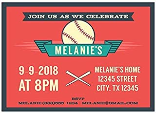 Baseball Red Vintage Birthday Party Invitations