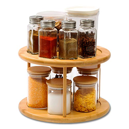 Oridom 2-Tier Bamboo Lazy Susan Turntable 10 Inch 360 Degree Rotating Cabinet Organizer for Kitchen Pantry Countertop Snack Spice Rack Fruit Makeup Storage