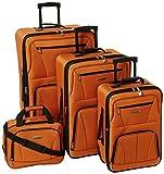 Rockland Journey Softside Upright Luggage Set, Orange, 4-Piece (14/19/24/28)