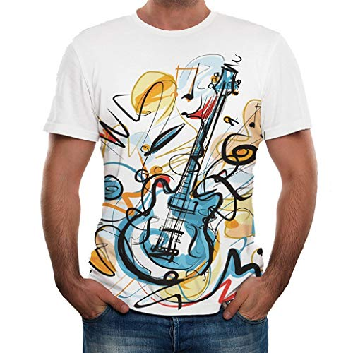 Herren T-Shirt 3D Gitarre Druck Kurzarm Sport Rundhals Tee Spaß Motiv Tops Casual Hemd Freizeit Weiß Kurzarmshirt W20