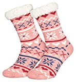 Piarini 1 Paar Kuschelsocken mit ABS Sohle - warme Damen Socken Hüttensocken - Wintersocken mit Anti Rutsch Noppen - Love-Rosa (One-Size)