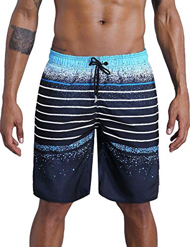 QRANSS Men's Quick Dry Swim Trunks Bathing Suit Striped Shorts with Pockets (Large / 38-40 Inches, Blue&Black)