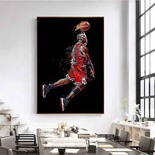 ganlanshu Arte Abstracto Cartel de Estrella de Baloncesto Dunk Volador Baloncesto Imagen de la Pared Sala de Estar decoración Dormitorio,Pintura sin Marco,45x67cm