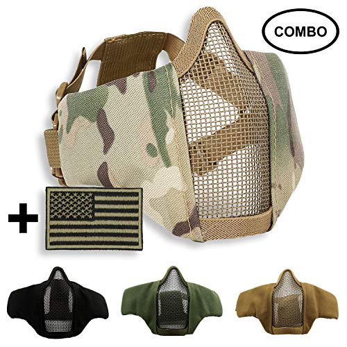 SPIKELAB Foldable Airsoft Half Face Metal Mesh Mask and US Flag Patch Combo, Adjustable Military Tactical Mask with Military Emblem Patch in Four Colors, PMC Outfit (Multicam)
