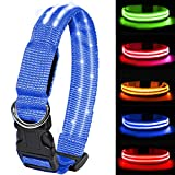 MELERIO Dog Flashing Light Up Collar Life Waterproof Rechargeable Safety Adjustable Pets Collar