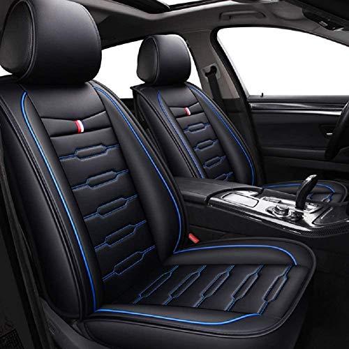 suyanouz 2020 New Cartoon Full Set Universal Fit 5-zits auto omgeven auto waterdichte lederen stoelhoezen protector verstelbare afneembare autozitkussens zwart-blauw
