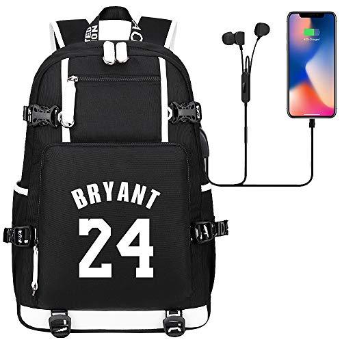 GXB Nr. 24 Basketballspieler Rucksack Kobe Bryant Sportrucksack Fantasche Unisex Schwarz