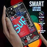 Black Piggy SUP iPhone 11 Case Protector Illuminated Call Flash Glow Flashing Calling Flash with Music Luminescent Cool case at Party Night for Boys Girls Fashion Trendy Protective Premium Anti Fall