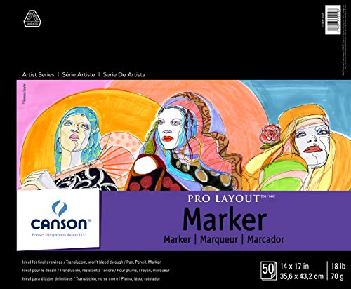 """Canson Artist Series Pro Layout Marker Pad, 14"""" x 17"""", Fold-over Cover, 50 Sheets (100511049), 14' x 17'"""