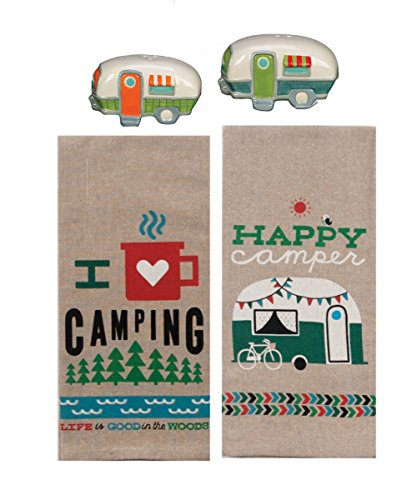 Product Image 1: 18th Street Gifts Happy Camper Dish Towels and Salt Pepper Set, 4 Piece Set of Camping Decor for RV