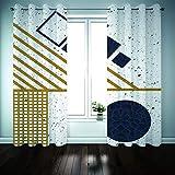 YUNSW Geometrische Bronzing Graffiti Schatten Vorhänge, Garten Wohnzimmer Schlafzimmer Küche Schallschutzvorhänge, Perforierte Zweiteilige Vorhänge - 4