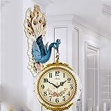 WJBHヨーロッパの壁時計両面時計時計リビングルームファッション時計クリエイティブ人格孔雀装飾アーティストアーティスト付きミュート時計の高さ78センチ幅37.5センチ時計プレート34.5センチガラス25センチ