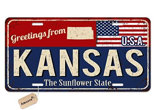 Amcove License Plate Greetings from Kansas Vintage Rusty Metal Sign with American Flag Auto Tag for Car, Truck, RV, Trailer, 6 x 12 inches
