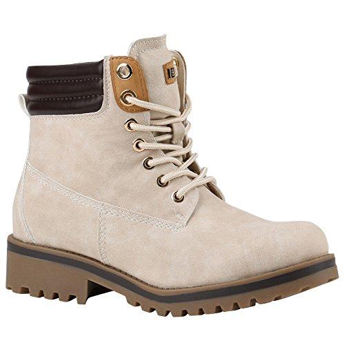 Damen Schuhe Warm Gefütterte Outdoor Stiefeletten Worker Boots 144381 Creme Bexhill 38 Flandell