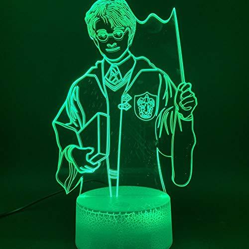Lámpara 3D The Magic Boy Harry Potter Figura Ilusión óptica Lámpara Usb Funciona con pilas Luz de noche Luz 3D de noche para niños Sala de decorusb Lectura recargable Sueños nocturnos para dormir Deco