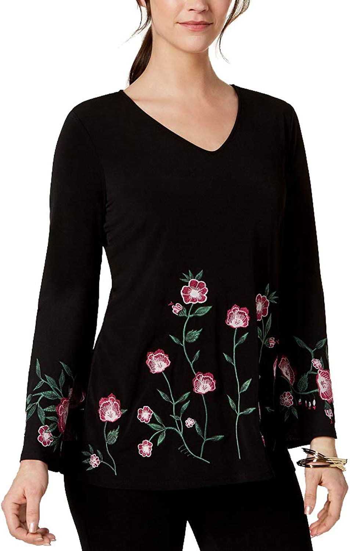 Alfani Petite Embroidered Floral Top