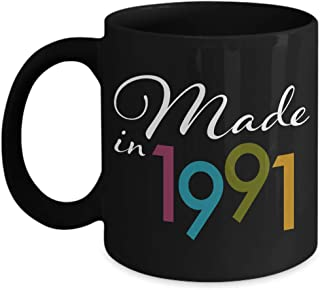 Happy Birthday Gifts for 28 Year Old Women - 28th Birthday Coffee Mug Black - Made in 1991 for Her Wife Mom from Daughter