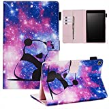 UUcovers Smart Cover for Amazon Kindle Fire HD 8 Tablet 2018/2017/2016 Case 8th/7th/6th Generation with Pencil Holder,PU Leather Magnetic Folio Stand Card Wallet [Auto Wake/Sleep], Purple Panda Baby