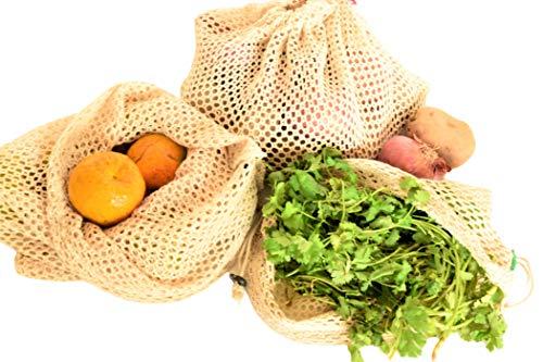 Wiederverwendbare Netzbeutel aus 100% Baumwolle – umweltfreundlich, biologisch abbaubar und waschbar Netzbeutel für Obst, Gemüse und Produzieren (3 kleine, 3 mittelgroße, 3 große) (9)