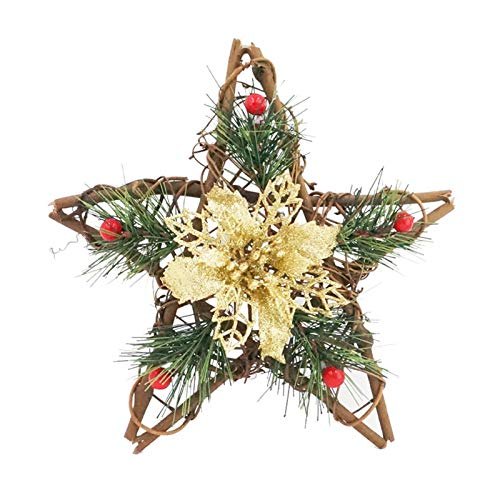 WODEJIA 20cm Star Straw Christmas Rattan Artificial Flower Wreath Home Door Garland Decoration Holiday Accessories Door Garland (Color : Gold)