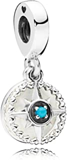 PANDORA Compass Rose, Silver Enamel & Blue Crystal