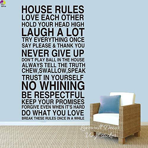 Jsnzff Reglas de la casa Pegatinas de Pared Sala de Estar Dormitorio Reglas Familiares Amor reír Nunca te Rindas calcomanías de Vinilo 68x120cm