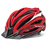 VICTGOAL Bike Helmet for Adults Men Women Bicycle Helmets with Visor and LED Light Lightweight Mountain Bike and Road Cycling Helmets (Red)